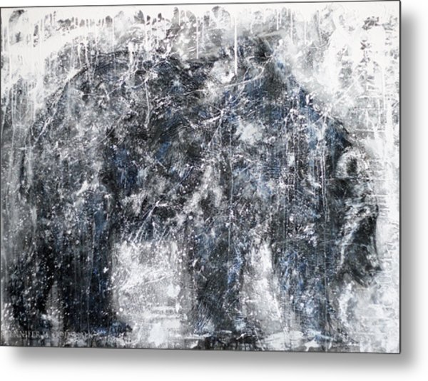 Abstract Black And White Bear Painting Barely There Bear Metal Print