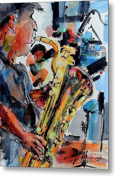 Metal Print featuring the painting Baritone Saxophone Mixed Media Music Art by Ginette Callaway