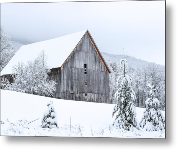 Barn After Snow Metal Print