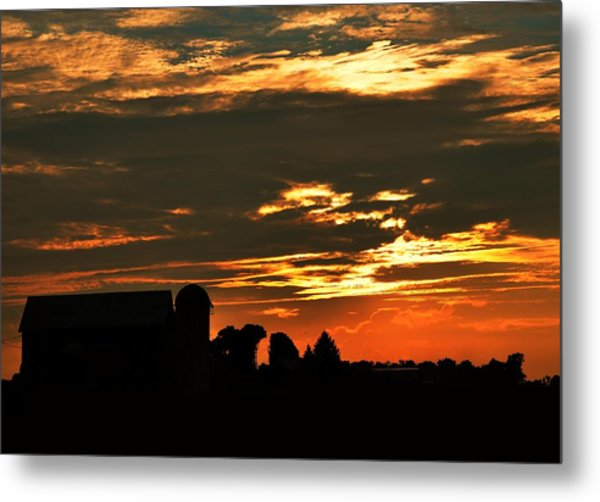 Barn And Silo At Sunset Metal Print