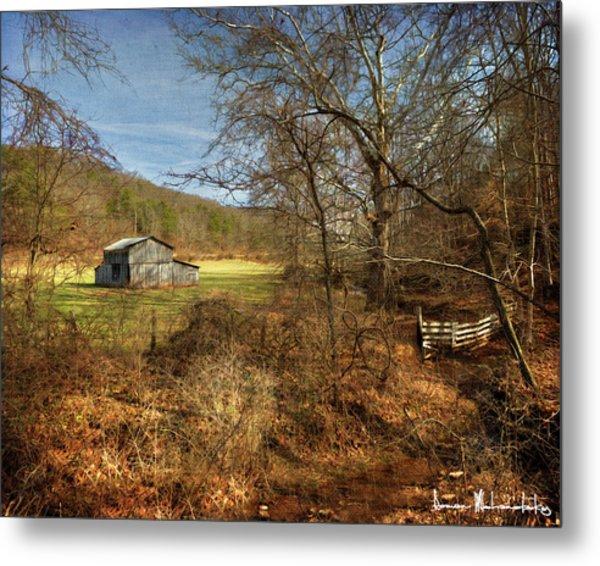Barn And Stream Metal Print
