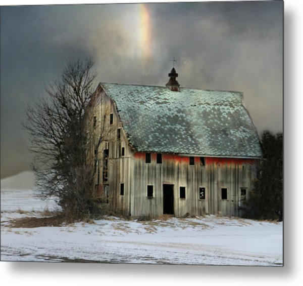 Barn And Sundog Metal Print