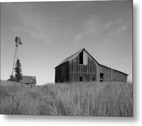 Barn And Windmill II Metal Print