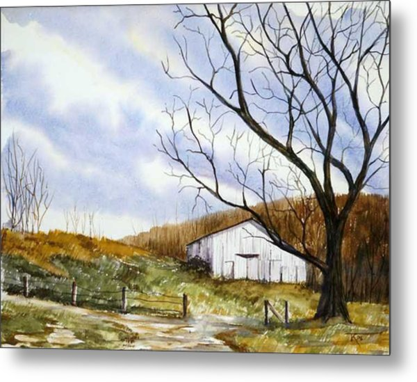 Barn At The Stage Stop Metal Print by Travis Kelley