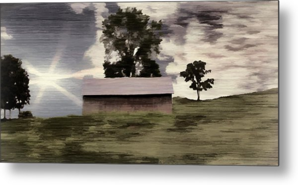 Barn II A Digital Painting Metal Print