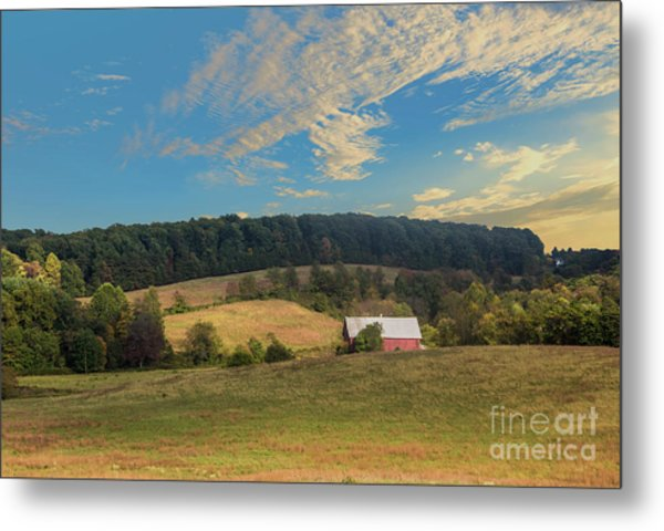 Barn In Field Metal Print