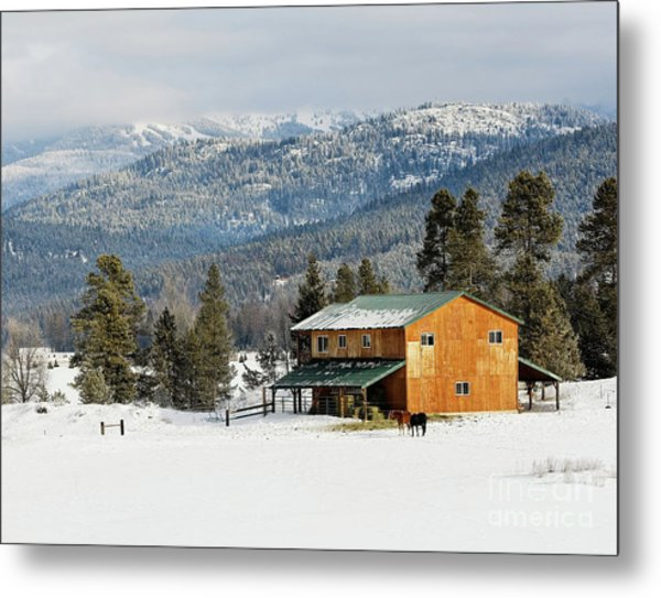 Barn In The Snow Metal Print by Melody Watson