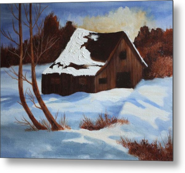 Barn In Winter Metal Print