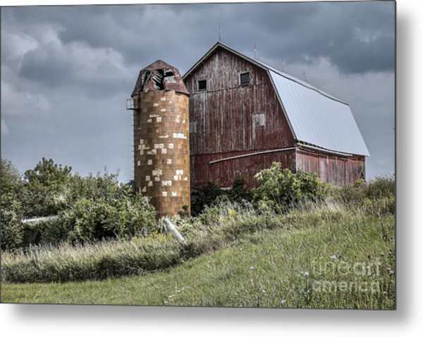 Barn On Hill Metal Print