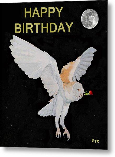 Barn Owl Happy Birthday Metal Print