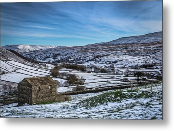 Barn View In The Snow. Metal Print by Yorkshire In Colour