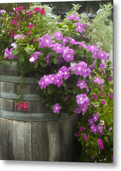 Barrel Of Flowers Metal Print