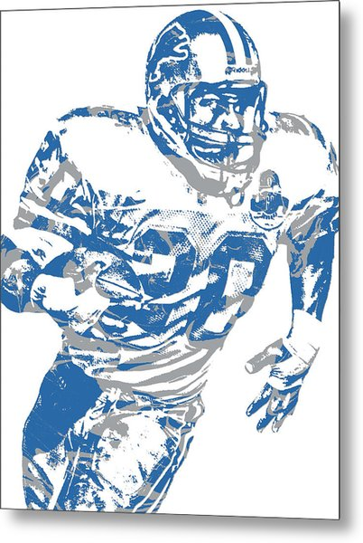 Barry Sanders Detroit Lions Pixel Art 1 Metal Print