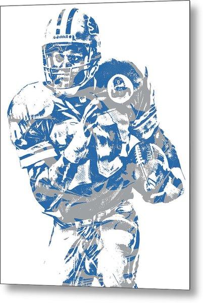Barry Sanders Detroit Lions Pixel Art 2 Metal Print