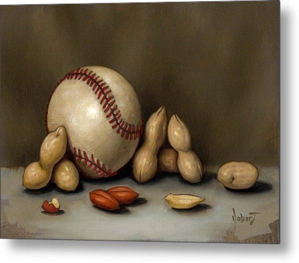 Baseball And Penuts Metal Print