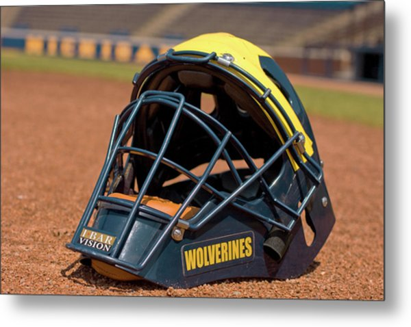 Baseball Catcher Helmet Metal Print