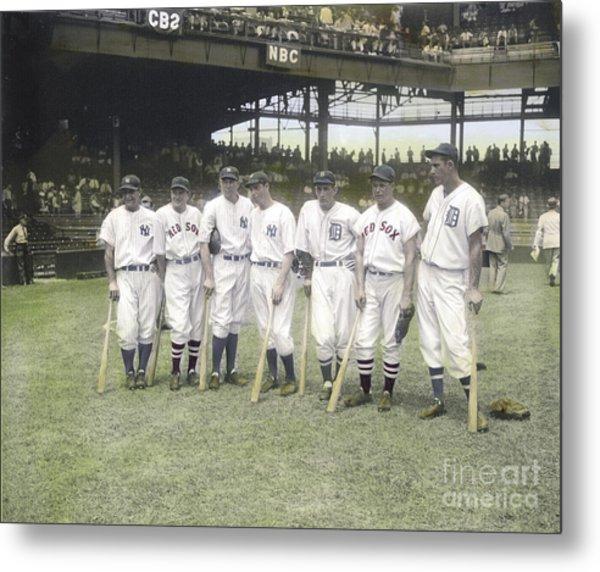 Baseball Greats At Griffith Stadium Metal Print by Susan Bock