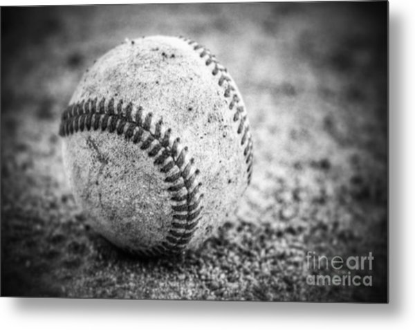 Baseball In Black And White Metal Print