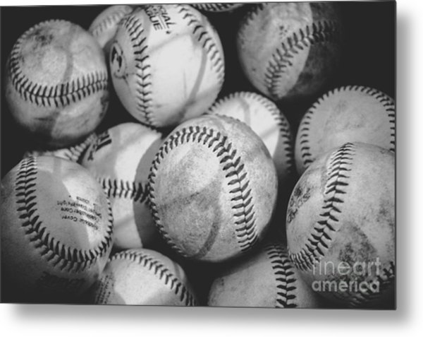 Baseballs In Black And White Metal Print