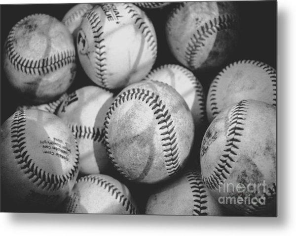 Baseballs In Black And White Metal Print