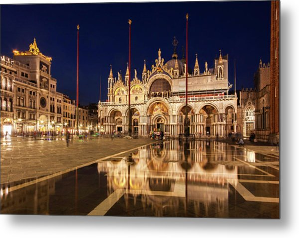 Metal Print featuring the photograph Basilica San Marco Reflections At Night - Venice, Italy by Barry O Carroll