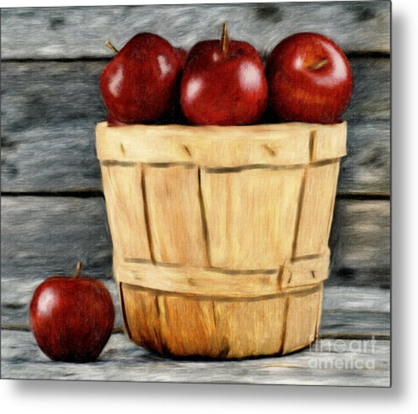 Basket Of Apples Metal Print