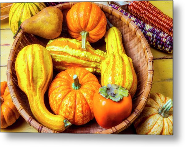 Basket Of Autumn Gourds And Fruits Metal Print