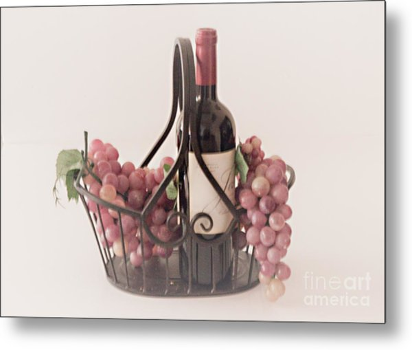 Basket Of Wine And Grapes Metal Print