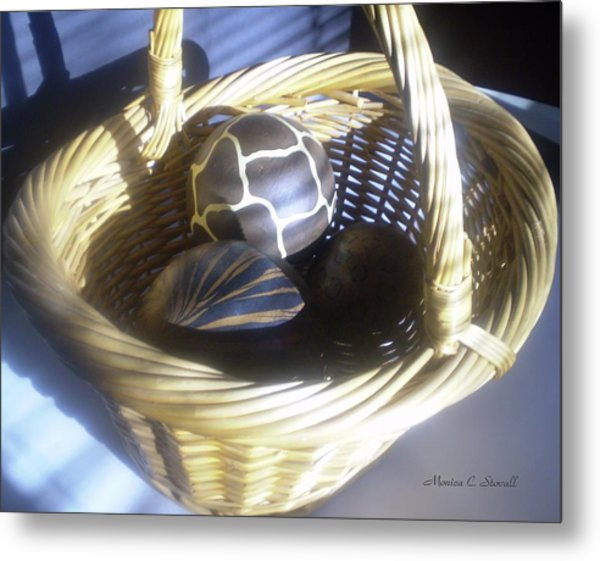 Basket With Brown Patterned Decor In The Sunlight Metal Print