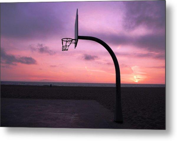 Basketball Court At Sunset Metal Print