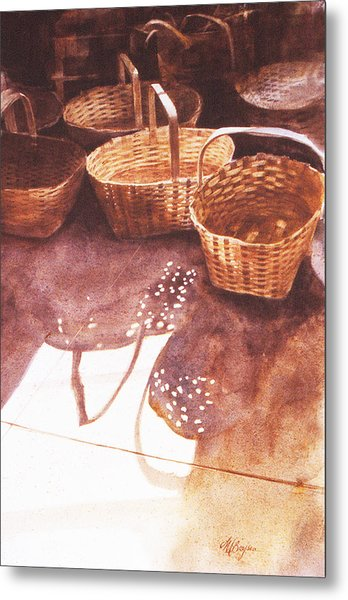 Baskets In The Sun Metal Print