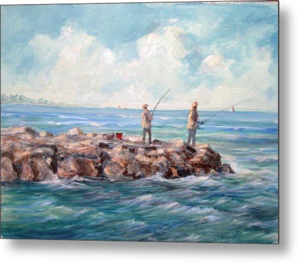 Bass Fishing Off Newport Metal Print