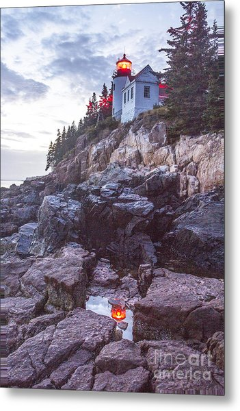 Bass Harbor Light Reflection Metal Print