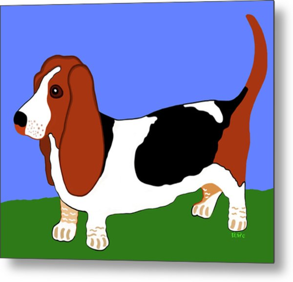 Cartoon Basset Hound In The Yard Metal Print