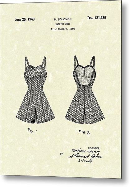 Bathing Suit 1940 Patent Art Metal Print
