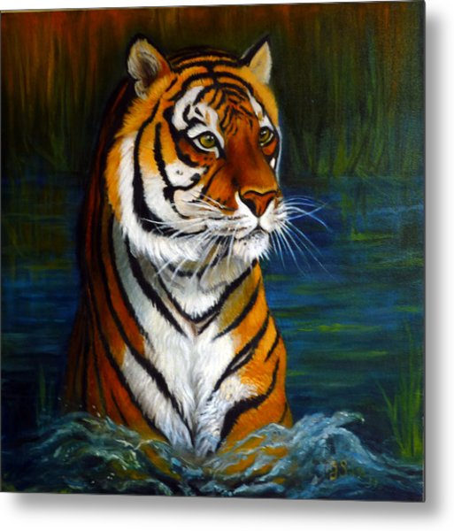 Bathing Tiger Metal Print by Janet Silkoff