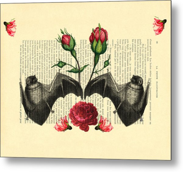 Bats With Angelic Roses Metal Print