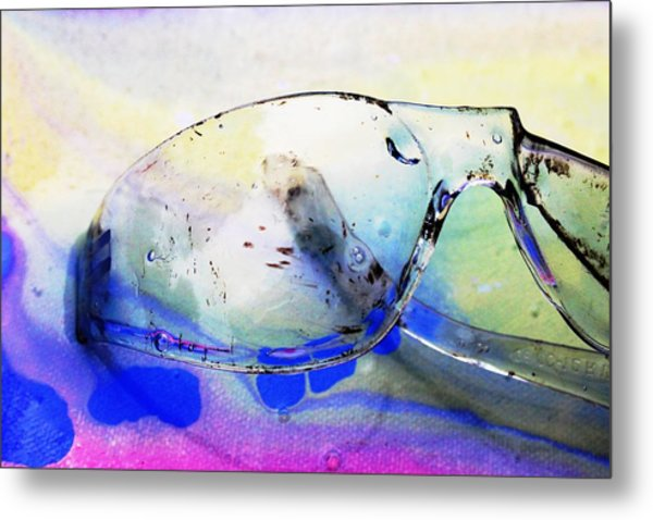 Battered Goggles Metal Print