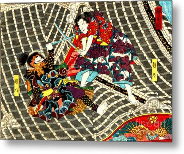Battle On Horyu Tower 1850 Metal Print
