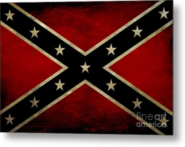 Battle Scarred Confederate Flag Metal Print