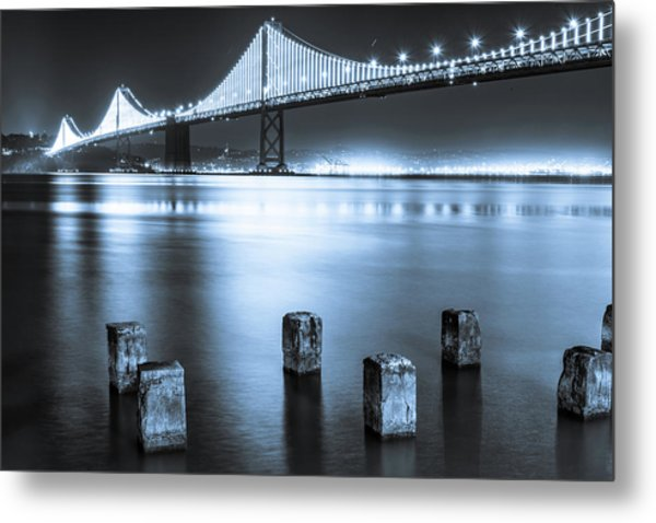 Bay Bridge 1 In Blue Metal Print