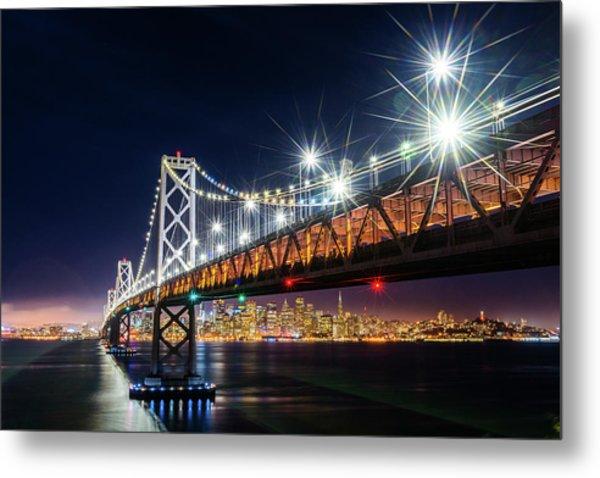 Bay Bridge And San Francisco By Night 5 Metal Print