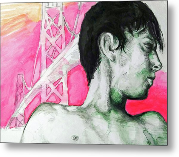 Metal Print featuring the painting Bay Bridge Anf Figure In Red by Rene Capone