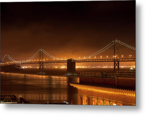 Bay Bridge At Night Metal Print
