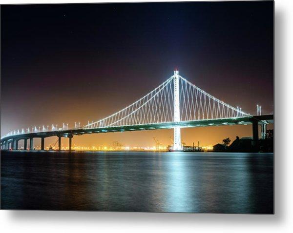 Bay Bridge East By Night 1 Metal Print