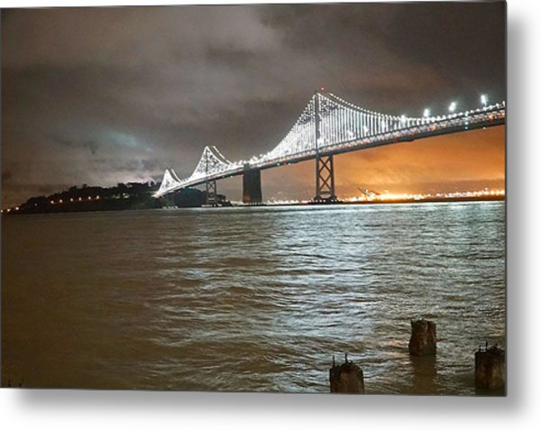 Bay Bridge Night Metal Print
