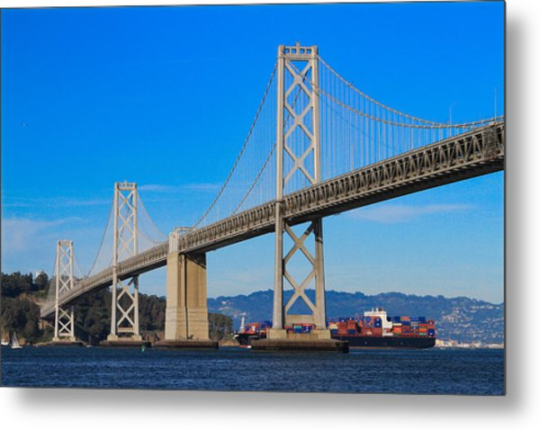 Bay Bridge With Apl Houston Metal Print