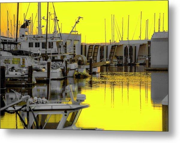 Bay In Yellow Metal Print