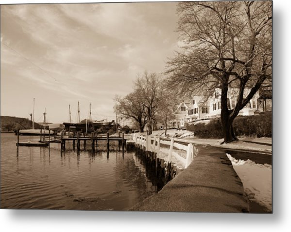 Bay Street In Winter - Mystic Ct Metal Print