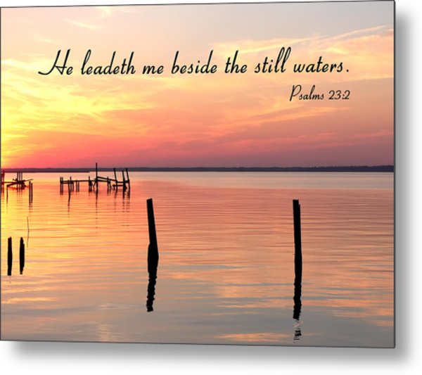 Bay Sunset Still Waters Psalm Metal Print
